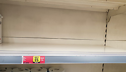 © Licensed to London News Pictures. 11/10/2021. London, UK. An empty shelf of kitchen rolls in Iceland, north London. This is amid fears of food shortages leading up to Christmas, due to labour shortages, following Brexit. Leading supermarkets may start rationing certain items ahead of Christmas. Photo credit: Dinendra Haria/LNP