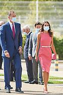 King Felipe VI of Spain, Queen Letizia of Spain attends the Commemoration of the 125th anniversary of Heraldo de Aragon Newspaper at Heraldo Rotary Press on September 16, 2020 in Villanueva de Gallego, Spain
