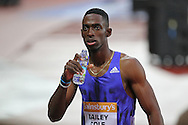 Kemar Bailey-Cole after winning the 100m heat during the Sainsbury's Anniversary Games at the Queen Elizabeth II Olympic Park, London, United Kingdom on 24 July 2015. Photo by Phil Duncan.