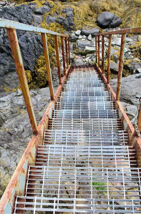 Access to the East Quoddy Lighthouse (also call the Head Harbor Light) requires climbing several sets of steep metal stairs.