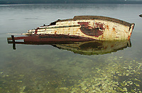 Wrecked fishing boat - Fanny Bay, Vancouver Island, British Columbia, Canada   Photo: Peter Llewellyn
