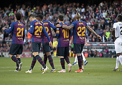 May 12, 2019 - Barcelona, Spain - Leo Messi goal celebration during the match between FC Barcelona angd Getafe, corresponding to the round 37 of the Liga Santander, played at the Camp Nou Stadium, on 12th May 2019, in Barcelona, Spain. (Credit Image: © Joan Valls/NurPhoto via ZUMA Press)