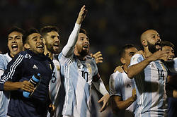 QUITO, Oct. 11, 2017  Argentina's Lionel Messi (C) celebrates with his teammates after winning the FIFA World Cup 2018 qualifier match against Ecuador, at Atahualpa Olympic Stadium, in Quito, Ecuador, on Oct. 10, 2017.  ma) (ce) (Credit Image: © Franklin Jacome/Xinhua via ZUMA Wire)