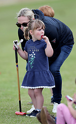 Zara Tindall, with her daughter Mia, as they attend the Maserati Royal Charity Polo Trophy at Beauford Polo Club, Down Farm House, Westonbirt, Gloucestershire.<br />