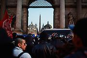 Manifestazione di protesta contro Matteo Salvini, il giorno prima del suo comizio a piazza del Popolo, Roma 27 febbraio 2015.  Christian Mantuano / OneShot <br /> <br /> Protest against Matteo Salvini the day before his political meeting in Piazza del Popolo, Rome February 27, 2015. Christian Mantuano / OneShot