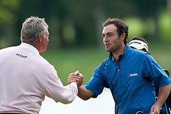 11.07.2010, Golf Club, Loch Lomond, SCO, PGA European Tour, The Barclays Scottish Open, im Bild Edoardo Molinari (ITA)  (r) shakes hand with Darren Clarke (GBR) after winning the PGA European Tour, Barclays Scottish Open part of The Race to Dubai Tournament, EXPA Pictures © 2010, PhotoCredit: EXPA/ M. Gunn / SPORTIDA PHOTO AGENCY