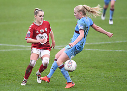 Faye Bryson of Bristol City Women is challenged by Grace Fisk of West Ham United Women - Mandatory by-line: Ryan Hiscott/JMP - 13/12/2020 - FOOTBALL - Twerton Park - Bath, England - Bristol City Women v West Ham United Women - Barclays FA Women's Super League