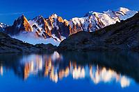 Mountain impression Lac Blanc with Aiguilles de Chamonix, Mont Blanc - Europe, France, Haute Savoie, Aiguilles Rouges, Chamonix, Lac Blanc - Sunset - September 2008