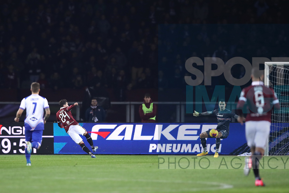 Simone Verdi of Torino FC fires the ball past Emil Audero of Sampdoria to give the side a 1-0 lead during the Serie A match at Stadio Grande Torino, Turin. Picture date: 8th February 2020. Picture credit should read: Jonathan Moscrop/Sportimage