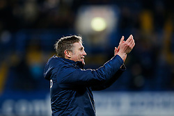 Bradford City Manager Phil Parkinson celebrates after Bradford City pull off a remarkable comeback from 2-0 down to win the match 2-4 and progress to the fifth round of the FA Cup - Photo mandatory by-line: Rogan Thomson/JMP - 07966 386802 - 24/01/2015 - SPORT - FOOTBALL - London, England - Stamford Bridge - Chelsea v Bradford City - FA Cup Fourth Round Proper.