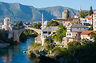 The Old Bridge of Mostar in Bosnia and Herzegovina The 16th-century bridge, destroyed the war in 1993, was reconstructed in 2004.