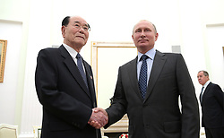 June 14, 2018 - Moscow, Russia - June 14, 2018. - Russia, Moscow. - Russian President Vladimir Putin and Chairman of the Presidium of the Supreme People's Assembly of North Korea Kim Yong-nam (left) during a meeting. (Credit Image: © Russian Look via ZUMA Wire)