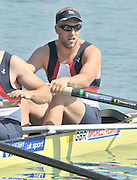 Banyoles, SPAIN, GBR M8+, Bow {R} Tom WILKINSON,  at the start of the race for lanes in the Men's Eights  FISA World Cup Rd 1. Lake Banyoles  Saturday, 30/05/2009   [Mandatory Credit. Peter Spurrier/Intersport Images]
