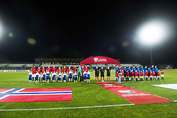 October 5, 2017 - San Marino, SAN MARINO - 171005 The two teams line up ahead of the FIFA World Cup Qualifier match between San Marino and Norway on October 5, 2017 in San Marino. .Photo: Fredrik Varfjell / BILDBYRN / kod FV / 150027 (Credit Image: © Fredrik Varfjell/Bildbyran via ZUMA Wire)