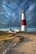 Portland Lighthouse in the evening light, Portland Bill, Dorset, Uk