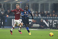 Simon Kjaer of AC Milan in a race for the ball with Romelu Lukaku of Inter during the Serie A match at Giuseppe Meazza, Milan. Picture date: 9th February 2020. Picture credit should read: Jonathan Moscrop/Sportimage