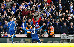 Leicester City's Vicente Iborra celebrates scoring his side's first goal of the game