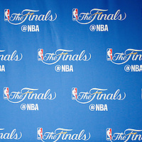 01 June 2017: Close view of of the NBA Finals logos during the Golden State Warriors 113-90 victory over the Cleveland Cavaliers, in game 1 of the 2017 NBA Finals, at the Oracle Arena, Oakland, California, USA.