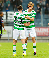 03/07/16 PRE-SEASON FRIENDLY<br /> STURM GRAZ V CELTIC<br /> STADUIM GRAZ LIEBENAU - AUSTRIA<br /> Celtic's Kieran Tierney (left) with Kristoffer Ajer