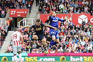 Stoke City Goalkeeper Shay Given fumbles the ball under pressure from Ben Davies of Tottenham Hotspur. Premier league match, Stoke City v Tottenham Hotspur at the Bet365 Stadium in Stoke on Trent, Staffs on Saturday 10th September 2016.<br /> pic by Chris Stading, Andrew Orchard sports photography.