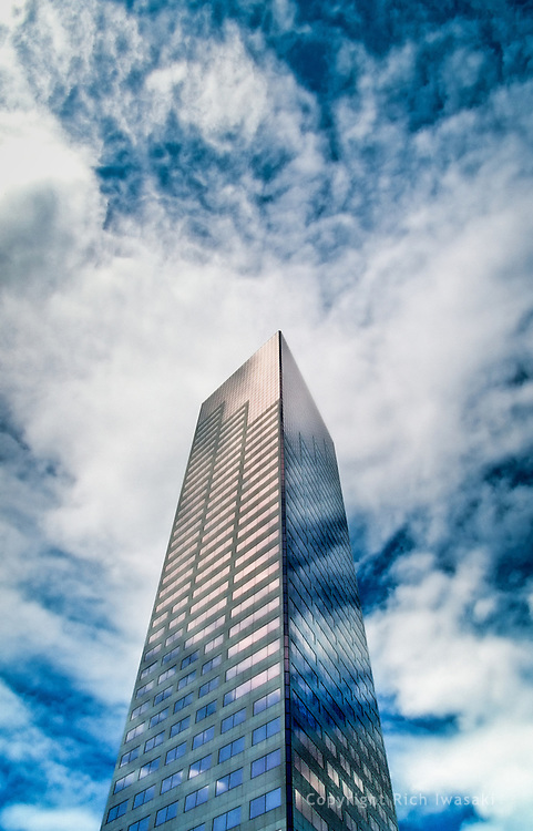 Low angle view of US Bankcorp Tower, Portland, Oregon. The 42-story building is the second tallest building in Portland, rising to 163.38 m (536.0 ft)