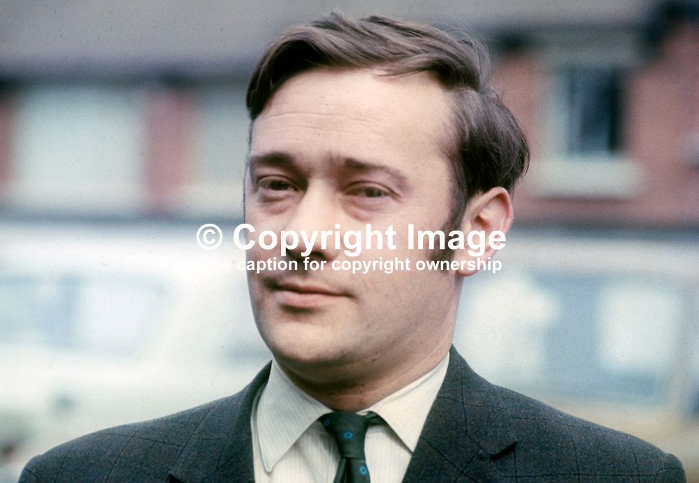 Bob Cooper, aka Robert Cooper, founder member, Alliance Party of N Ireland, April 1970, 197004000132<br /> <br /> Copyright Image from Victor Patterson, Belfast, UK<br /> <br /> t: +44 28 9066 1296 (from Rep of Ireland 048 9066 1296)<br /> m: +44 7802 353836<br /> e: victorpattersonbelfast@gmail.com<br /> <br /> www.images4media.com<br /> <br /> Please see my full Terms and Conditions of Use at https://www.images4media.com/p/terms-conditions - it is IMPORTANT that you familiarise yourself with them.<br /> <br /> Images used online incur an additional cost. This cost should be agreed in writing in advance. Online images must be visibly watermarked i.e. © Victor Patterson or that of the named photographer within the body of the image. The original metadata must not be deleted from images used online.<br /> <br /> This image is only available for the use of the download recipient i.e. television station, newspaper, magazine, book publisher, etc, and must not be passed on to a third party. It is also downloaded on condition that each and every usage is notified within 7 days to victorpattersonbelfast@gmail.com.<br /> <br /> The right of Victor Patterson (or the named photographer) to be identified as the author is asserted in accordance with The Copyright Designs And Patents Act (1988). All moral rights are asserted.