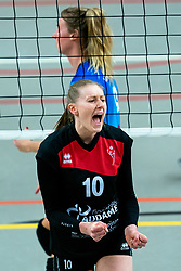 Laura Kerkhof of VCN in action during the first league match between Djopzz Regio Zwolle Volleybal - Laudame Financials VCN on February 27, 2021 in Zwolle.