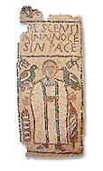 The Christian Eastern Roman Byzantine memorial funerary mosaic for Crescentia. <br /> Above the funerary portrait of Crescentia are the words: 'Crescentia, innocent and in Peace'. Crescentia is dressed in a dalmatic, a long wide-sleeved tunic, with a belt around the waiste and a neclace around her neck. Lit candles represent eternal life. 5th century AD from the western necropolis of Thabraca, Tabarka, Tunisia, Bardo Museum, Tunis, Tunisia. White background .<br /> <br /> If you prefer to buy from our ALAMY PHOTO LIBRARY  Collection visit : https://www.alamy.com/portfolio/paul-williams-funkystock/roman-mosaic.html - Type -   Bardo    - into the LOWER SEARCH WITHIN GALLERY box. Refine search by adding background colour, place, museum etc<br /> <br /> Visit our ROMAN MOSAIC PHOTO COLLECTIONS for more photos to download  as wall art prints https://funkystock.photoshelter.com/gallery-collection/Roman-Mosaics-Art-Pictures-Images/C0000LcfNel7FpLI