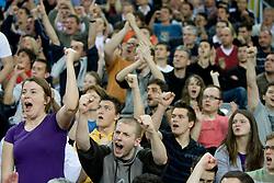 Fans of Cibona celebrate at second semifinal match of League NLB Final Four tournament  between KK Cibona Zagreb and KK Union Olimpija Ljubljana, on April 23, 2010, in Arena Zagreb, Zagreb, Croatia. (Photo by Vid Ponikvar / Sportida)