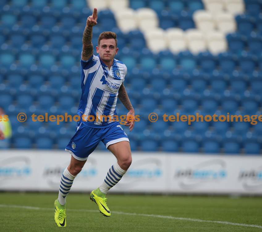 Colchester United's Sammie Szmodics celebrates scoring his sides first goal <br /> during the Sky Bet League 2 match between Colchester United and Blackpool at the Weston Homes Community Stadium in Colchester. September 10, 2016.<br /> James K  Galvin / Telephoto Images<br /> +44 7967 642437