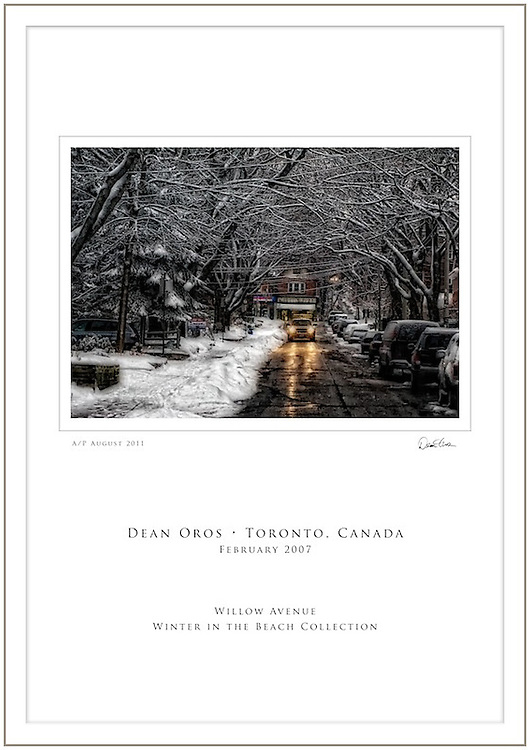 """ABOUT THE IMAGE AND PRINT<br /> """"Willow Avenue"""" is part of the """"Winter in the Beach Collection"""", a series of images capturing the beauty of the Beach neighbourhood during winter. """"Willow Avenue"""" was captured in February of 2007, a couple of hours after a huge snow storm. The image was captured digitally and then enhanced in post production by the photographer.<br /> <br /> Each special order 13x19"""" Poster Print will be created, signed and dated by the Artist.  Produced on textured fine-art photographic paper, the print is rated to last 100 years (per manufacturer's extensive testing) when professionally matted and framed, and displayed in proper conditions.<br /> <br /> The Artist will mat and frame the print upon request.<br /> <br /> Cdn$500.00. Please contact the Studio to place your order."""