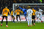 Dimitrios Konstantopoulos (1) of Middlesbrough makes a save during the The FA Cup match between Newport County and Middlesbrough at Rodney Parade, Newport, Wales on 5 February 2019.