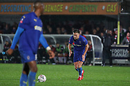 AFC Wimbledon defender Luke O'Neill (2) about to take a free kick during the The FA Cup match between AFC Wimbledon and Doncaster Rovers at the Cherry Red Records Stadium, Kingston, England on 9 November 2019.