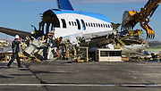 The ecoDemonstrator 757 airplane, originally built for United Airlines in 1990,  ready for demolition at the Moses Lake Airport.<br /> <br /> Mike Siegel / The Seattle Times