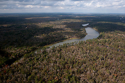 Undeveloped camping area on right side of Grand Lake, Conroe, Texas with flood plain on left,