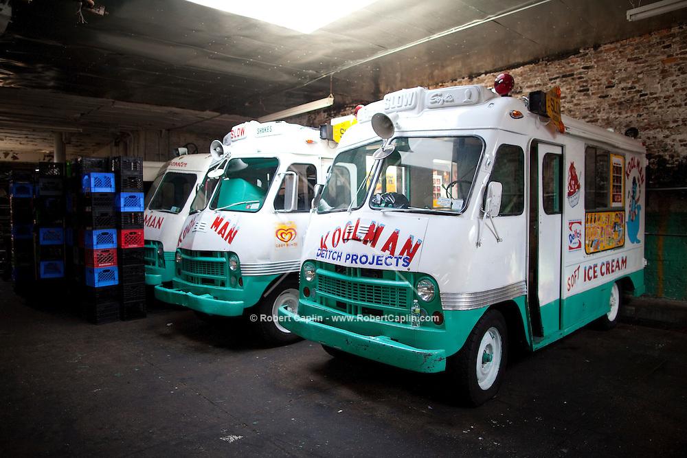 Koolman Ice Cream Truck Garage on Grand Street in Williamsburg, Brooklyn. ..Photo by Robert Caplin.