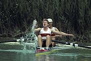 Barcelona, SPAIN.  GER W2_ Silver Medalist, .Stefanie WERREMEIER , Ingeburg SCHWERZMANN - ALTHOFF. 1992 Olympic Rowing Regatta Lake Banyoles, Catalonia [Mandatory Credit Peter Spurrier/ Intersport Images]