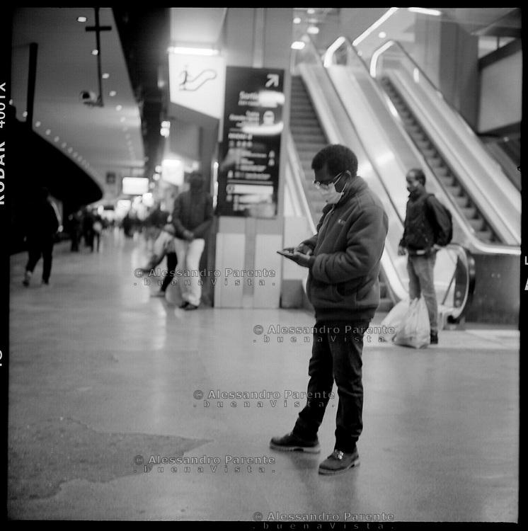Gare du nord. People waiting for the train to Seine Saint Denis.
