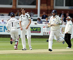 Middlesex's Steven Finn looking frustrated as Durham's Keaton Jennings and Durham's Chris Rushworth take a run - Photo mandatory by-line: Robbie Stephenson/JMP - Mobile: 07966 386802 - 04/05/2015 - SPORT - Football - London - Lords  - Middlesex CCC v Durham CCC - County Championship Division One
