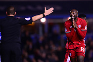 Sol Bamba of Cardiff City argues with the referee .EFL Skybet championship match, Birmingham city v Cardiff city at St.Andrew's stadium in Birmingham, the Midlands on Friday 13th October 2017.<br /> pic by Bradley Collyer, Andrew Orchard sports photography.