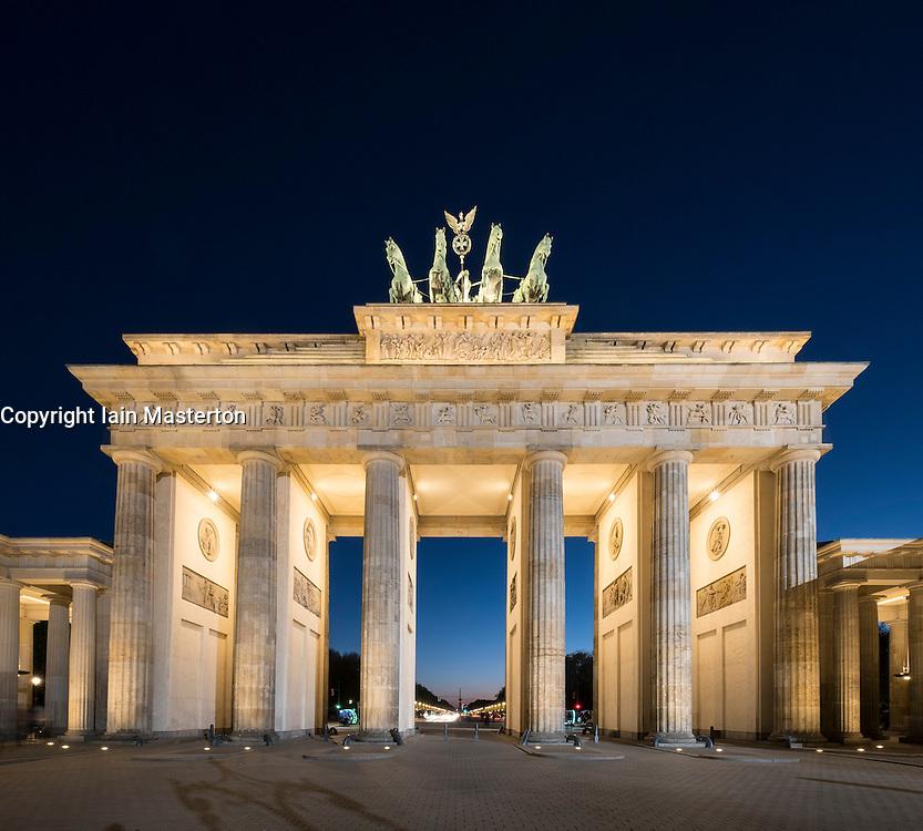 Brandenburg Gate in the evening in Berlin Germany