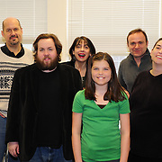 Cast rehearsal photo for Harbor Light Stage's Bold Face Play Reading presentation of Off The Map, by Joan Ackerman. Scott Caple, Tobin Moss, Lisa Stathoplos, Elle Shaheen, Anthony Ejarque, and Kristan Curtis (L to R)