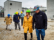 12 APRIL 2019 - NEVADA, IOWA: US Senator AMY KLOBUCHAR, (D-MN) talks to CHRIS CLEVELAND, Production Manager of Lincolnway Energy, during a tour of the Lincolnway Energy ethanol plant in Nevada, IA. Sen. Klobuchar is touring Iowa this weekend to support her bid for the Democratic nomination of for the US Presidency. Iowa traditionally hosts the the first election event of the presidential election cycle. The Iowa Caucuses will be on Feb. 3, 2020.            PHOTO BY JACK KURTZ