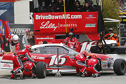 April 7, 2018 - Ft. Worth, Texas, United States of America - April 07, 2018 - Ft. Worth, Texas, USA: Ryan Reed (16) makes a pit stop for the My Bariatric Solutions 300 at Texas Motor Speedway in Ft. Worth, Texas. (Credit Image: © Stephen A. Arce/ASP via ZUMA Wire)