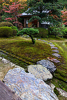 Zuishin-in Moss Garden - Zuishin-in is a quiet temple removed from the Kyoto city center in Yamashina.  The temple is also called the Mandala Temple after a legend in which the founding priest's mother had been reincarnated and had a priest make a mandala.  The famous poet Ono no Komachi is also strongly  connected to this temple, and items related to her are scattered around the temple halls and the gardens. The garden is known for its small pond and abundant use of moss.  Zuishin-in's appeal is in its seclusion, with the exception of the famous flowering plum season for which it is known.  Zuishinin temple belongs to the Shingon sect of Buddhism