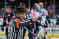 KELOWNA, CANADA - FEBRUARY 23: Referee Ward Pateman stands on the ice at the Kelowna Rockets against the Kamloops Blazers  on February 23, 2019 at Prospera Place in Kelowna, British Columbia, Canada.  (Photo by Marissa Baecker/Shoot the Breeze)