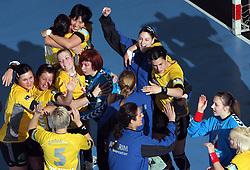 Team of Krim celebrates the victory after handball match of  Main round of Champions League between RK Krim Mercator, Ljubljana and CS Oltchim Rm. Valcea, Romania, in Arena Kodeljevo, Ljubljana, Slovenia, on 28th of February 2009. Krim won 35:34.