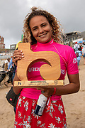 Alice Lemoigne (FRA)  Ladies' Longboard Pro Champion, Boardmasters 2019 at Fistral Beach, Newquay, Cornwall, United Kingdom on 11 August 2019.