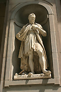 Michelangelo Buonarroti Simoni (6 March 1475 – 18 February 1564), Italian Renaissance painter, sculptor, architect, poet, and engineer. Portrait sculpture depicting Michelangelo from the exterior of the Uffizi Palace in Florence, Italy