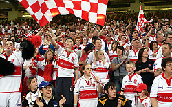 Hull KR's supporters cheer during the engage Super League match at the Millennium Stadium, Cardiff.